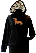 Black Dachshund Fabric Hoodie Logo Pull-on Sweatshirt Jacket (S-3XL)