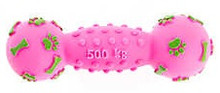 Pink Lime Dog Dumbbell Squeaker Toy