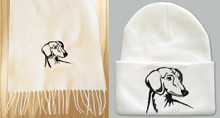 2 Piece White w Black Doxie Knit Hat and Scarf Set Dachshund Embroidered Head