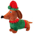 9.5 inch Merry & Bright™ Holiday Wiener Elf Dachshund Dog Plush Toy w Squeaker