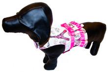 Mr. Wags Custom Dachshund Walking Harness DRESS - J'adore Paris!
