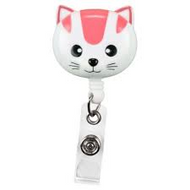 Pink Cat - Deluxe Retractable ID Holder / Key tag