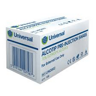 Alcotip Pre-Injection Swab Wipe (70% Isopropyl Alcohol) x 100