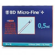 Bd Micro-Fine U-100 Insulin Syringe needles 0.5ml (100)