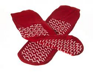 Medline Double Tread Slipper Socks / Fall Prevention Socks- Red (Pair) - One Size - As Used by NHS