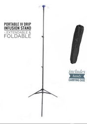 4 Hook Portable IV Drip Bag Stand and Case - Foldable, Professional, Portable