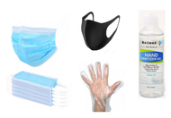 PPE Kit - 10 Disposable face masks,  1 Reusable mask, 100ml Hand sanitiser and 4 Gloves