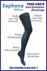 Saphena Medical Thigh Length Anti-Embolism Stockings with Grip sole (open toe) - Standard / Medium (Pair)