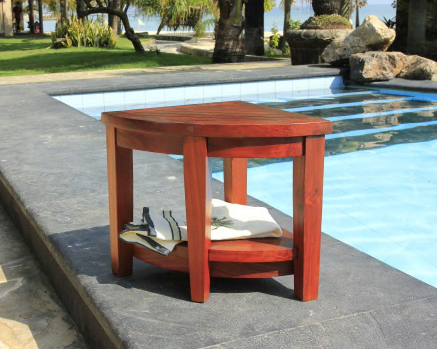Teak Corner Shower Chair Stool Bench Stool- Extended Elevated Height