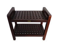 Espalier™ Lattice 24 in Teak Shower Bench Chair Stool with Shelf with Arms- DT113