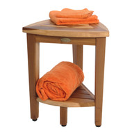 "New- 18"" EcoDecors EarthyTeak-Patented- FULLY ASSEMBLED Compact Teak Corner Shower Bench With Shelf- Shower Sitting, Storage, Shaving Foot Rest"
