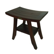 DecoTeak 18 inch Satori™ Eastern Styled Solid Teak Shower Stool with Shelf