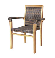 EcoDecors Indoor & Outdoor Teak And Viro Rattan Stacking Dining Chair