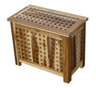 EcoDecors Solid Lattice Bench Teak Hamper with Laundry Bag