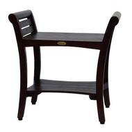 """Symmetry™ 24"""" Teak Contemporary Shower Bench with shelf & Lift Aide Curved Arms- DT125"""