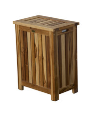 EcoDecors Solid Teak Slatted Standard Hamper with Laundry Bag