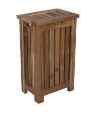 EcoDecors Solid Teak Slatted Apartment Hamper with Laundry Bag