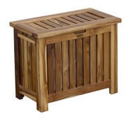 EcoDecors Solid Teak Slatted Bench Hamper with Laundry Bag