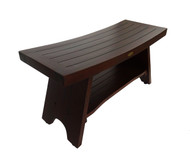 Serenity™ 35 in Teak Shower Bench with Shelf - Extended Jumbo Size - DT103