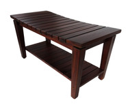 "Patented Sojourn™ 35"" Contemporary Teak Shower Bench with Shelf- DT140"