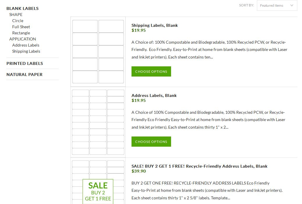 Recycled and Compostable Avery-compatible BLANK Label Sheets!