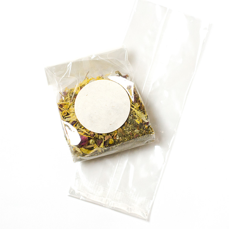 Natural Compostable cellophane bag with label