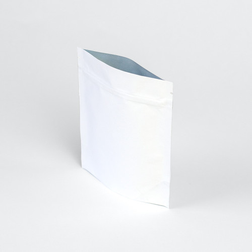 White stand up zipper pouch
