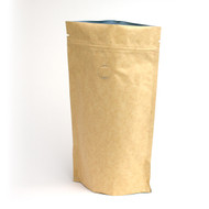 8oz Kraft Compostable Stand Up Pouch with Valve