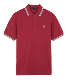 Made in England Polo Shirt - Maroon / White / Ice
