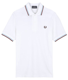 Made in England Polo Shirt - White / Ice / Maroon