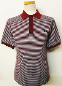 Mercerised Striped Polo - Maroon / Ice
