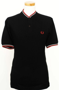 Bomber Neck Polo - Black / White / Bright Red