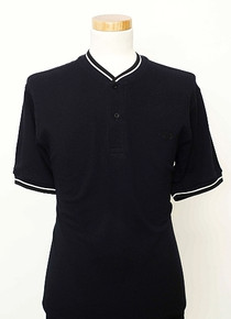 Bomber Neck Polo - Navy