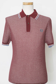 Twisted Textured Knit Shirt - Maroon / Ice / White