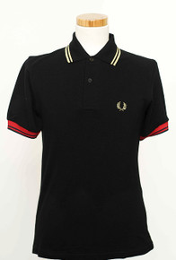 Multi Tipped Polo Shirt - Black / Red / Champagne