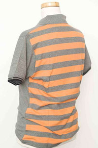Striped Back Polo - Grey Marl / Nu Orange