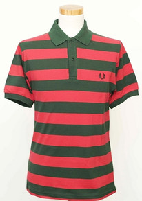 Hoop Striped Polo - Tartan Green / Red