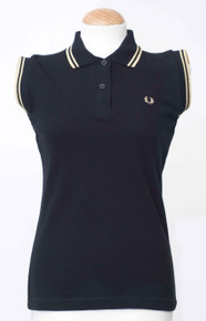 Twin Tipped Sleeveless Polo - Black / Champagne