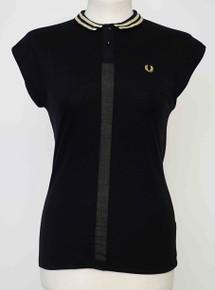 Pique Shirt with Woven Trim - Black