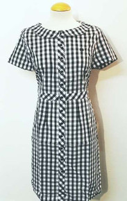 Gingham Shirt Dress - Black