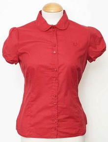 Short Sleeve Cotton Shirt - Fire Red