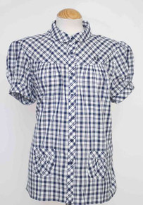 Check Shirt with Front Pockets - French Navy