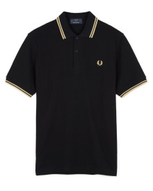 Made in England Twin Tipped Polo - Black / Champagne