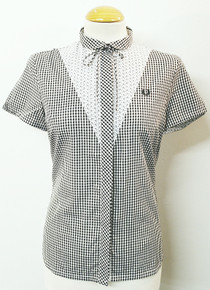 Gingham Shirt with Floral Bib - Black / White