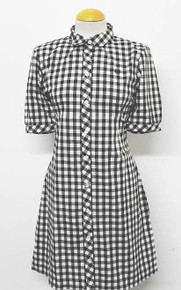 Gingham Shirt Dress - Black / White