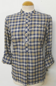 Half Placket Shadowcheck Shirt - Inky Blue