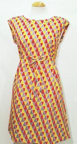 Button Shoulder Shift Dress - Yolk Yellow / Red