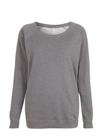 Organic Raglan Sweatshirt (Womens) - Dark Heather