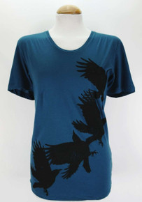 Scoop Neck Crow Silhouette T - Teal