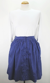 Penelope Buttoned Skirt - Blue Dots